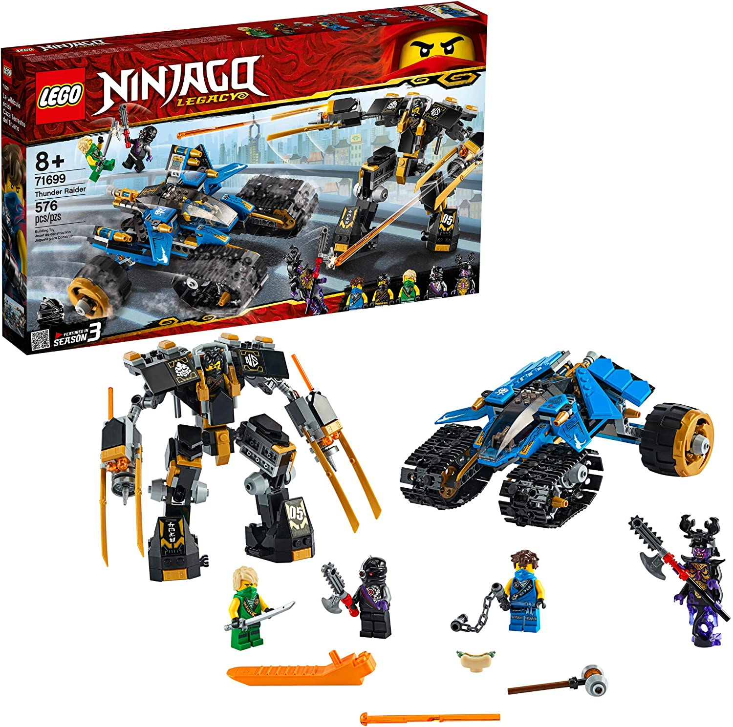 LEGO NINJAGO Legacy Thunder Raider 71699 Ninja Mech Adventure Toy Building Kit, New 2020 (576 Pieces)