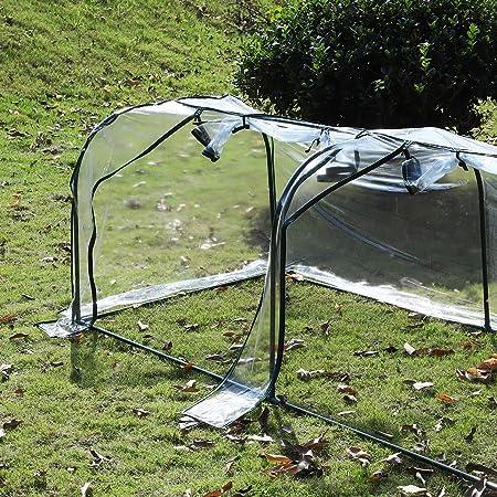 Outsunny Invernadero Caseta 350x100x80cm para Jardín Terraza Cultivo de Plantas Semilla Invernadero de Jardín Vivero Casero Tipo Túnel Marco Acero y PVC: ...