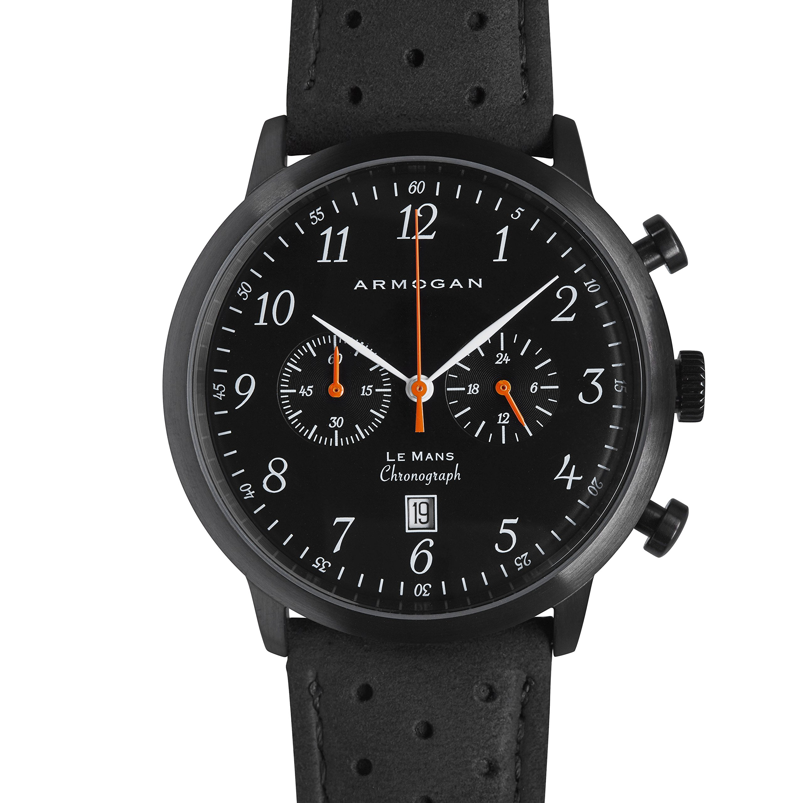 Armogan Le Mans - Midnight Black S23 - Men's Chronograph Watch - Perfored Suede Leather Strap by ARMOGAN