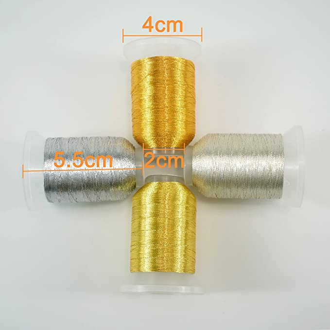 New brothread 4 Colores (2 Oro+2 Plata) metálico Bordado Máquina Hilo 550M para bordado computarizado y costura decorativa: Amazon.es: Hogar