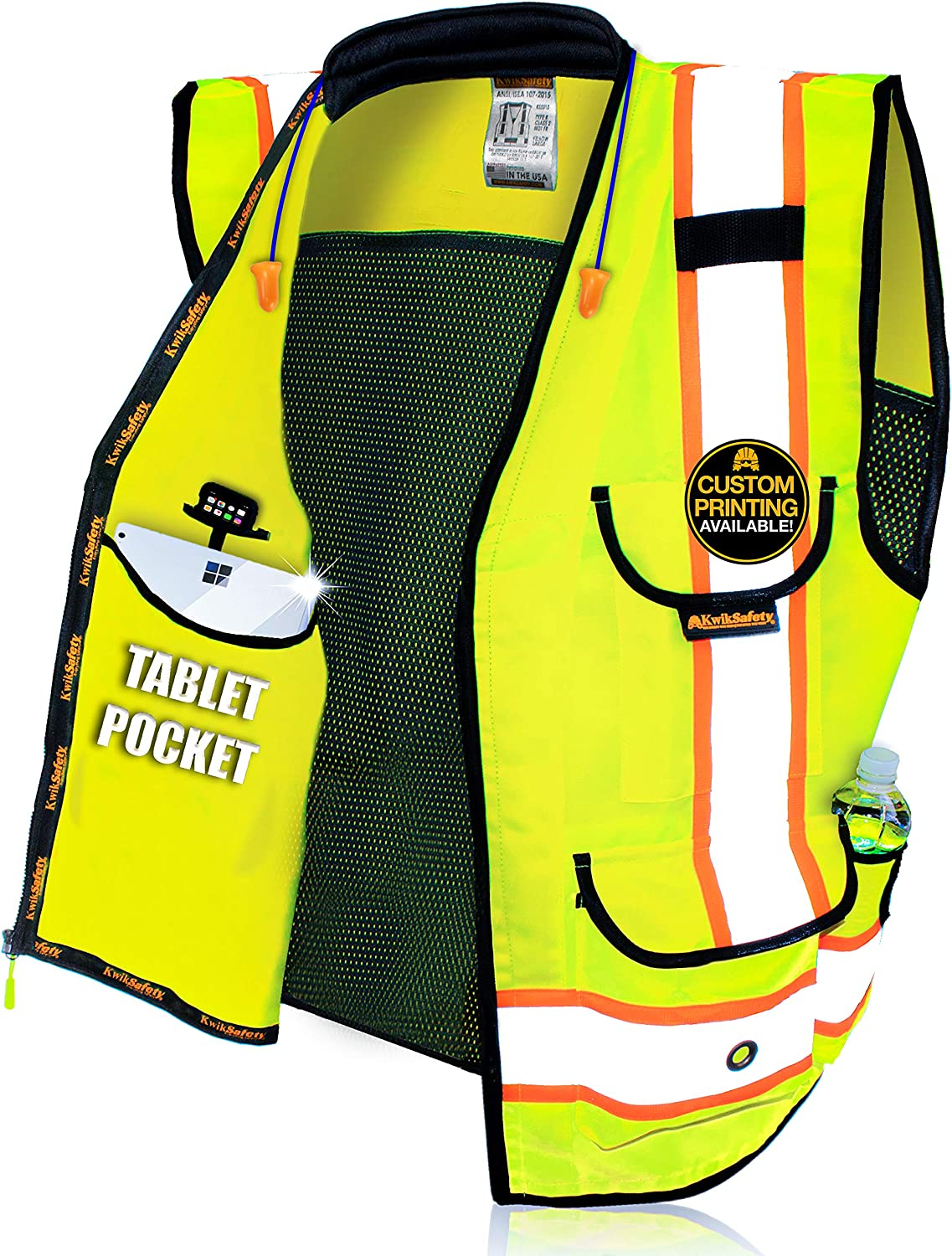 KwikSafety (Charlotte, NC) GODFATHER (Cushioned Collar) Class 2 ANSI OSHA High Visibility Safety Vest 9 Pockets Reflective Tape Heavy Duty Zipper Mesh Hi Vis Construction Men Women Yellow XX-Large