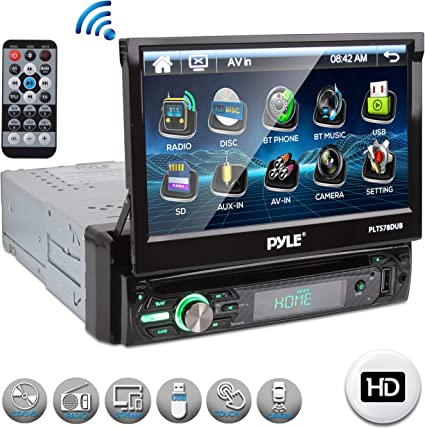 "Pyle Single DIN Head Unit Receiver - In-Dash Car Stereo with 7"" Multi-Color Touchscreen Display - Audio Video System"