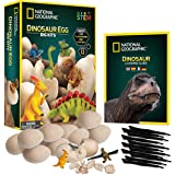 NATIONAL GEOGRAPHIC Dinosaur Dig Kit – 12 Dino Egg Shaped Dig Bricks with Dinosaur Figures Inside, Party Activity Comes with 12 Excavation Tool Sets, Great Stem Toy Party Favors for Boys Or Girls