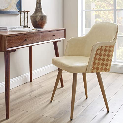 Volans Mid Century Modern Leather Upholstered Accent Chair