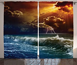 "Ambesonne Nature Curtains, Thunderstorm Rays Over The Ocean Waves Wild Forces Burnt Fire in The Air Print, Living Room Bedroom Window Drapes 2 Panel Set, 108"" X 84"", Blue Orange"