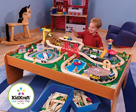 Amazon.com: KidKraft Ride Around Train Set and Table: Toys & Games