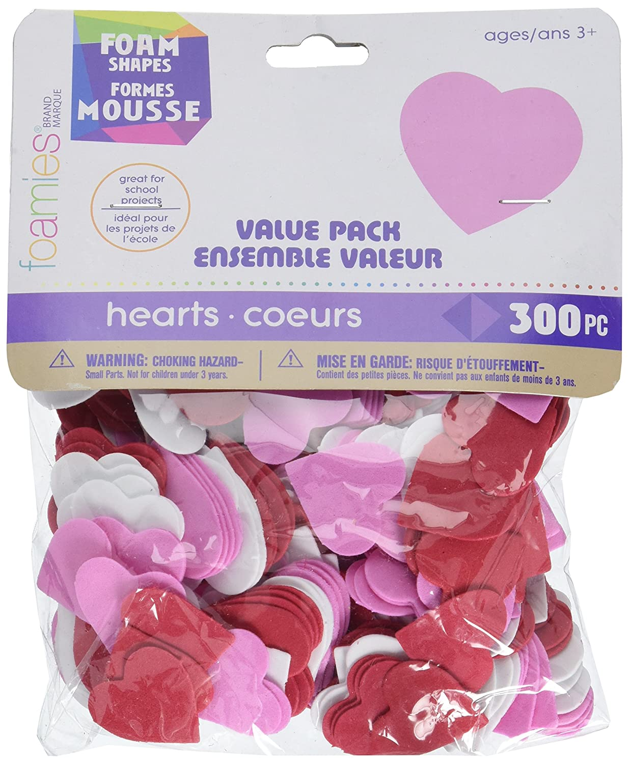 White Hearts-300 pc Red Darice Foam Shapes Assorted Value Pack Pink 1 106-2794