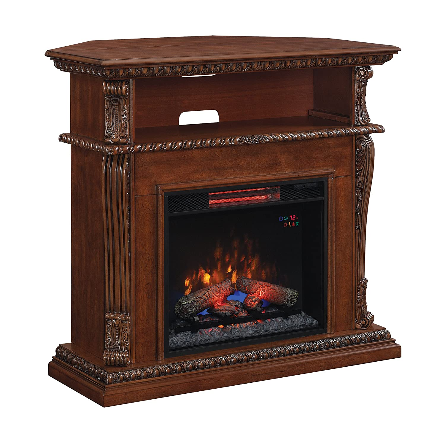 Classic Flame 23DE1447-W502 Corinth Wall or Corner TV Stand for TVs up to 47 , Burnished Walnut Electric Fireplace Insert Sold Separately