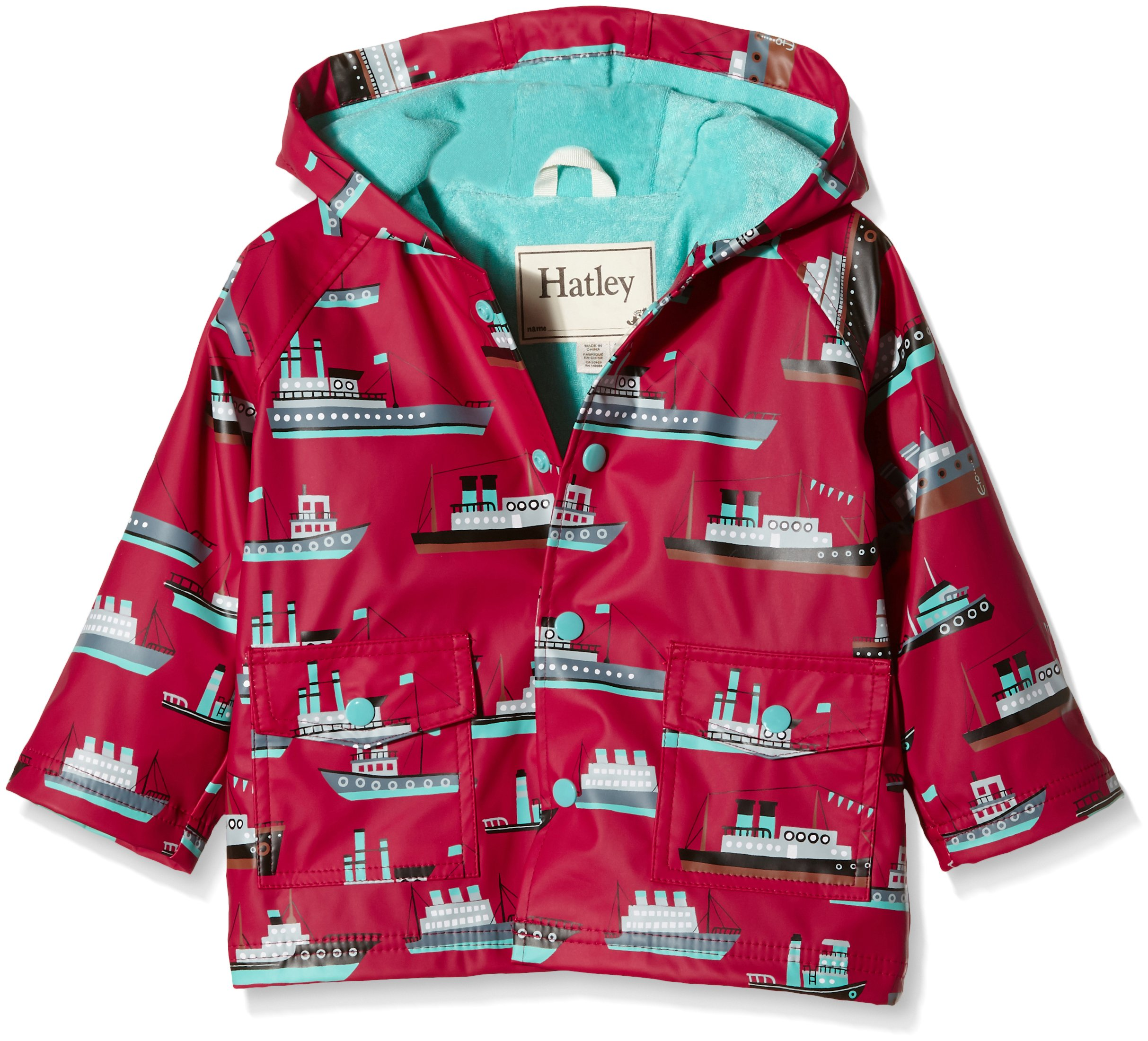 Hatley Baby Ocean Liner Infant Raincoat, Red, 12-18 Months by Hatley