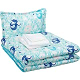 AmazonBasics Easy Care Super Soft Microfiber Kid's Bed-in-a-Bag Bedding Set - Twin, Blue Mermaids