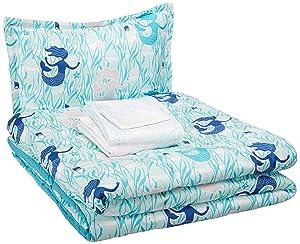 AmazonBasics Easy-Wash Microfiber Kid's Bed-in-a-Bag Bedding Set - Twin, Blue Mermaids
