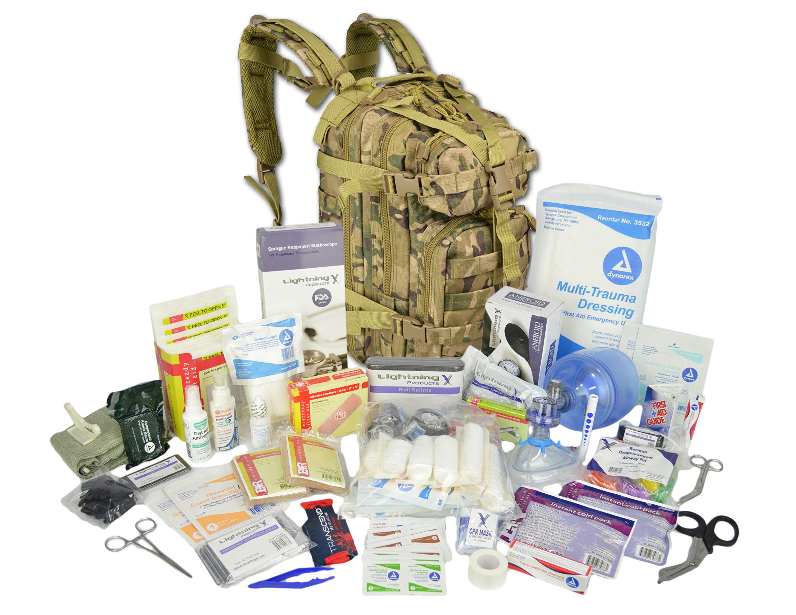 Lightning X Stocked EMS/EMT Trauma & Bleeding First Aid Responder Medical Backpack + Kit - Multicam