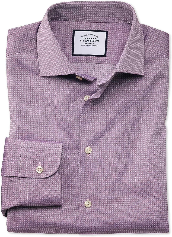 Camisa Business Casual Morada de Tela Texturizada Slim fit ...