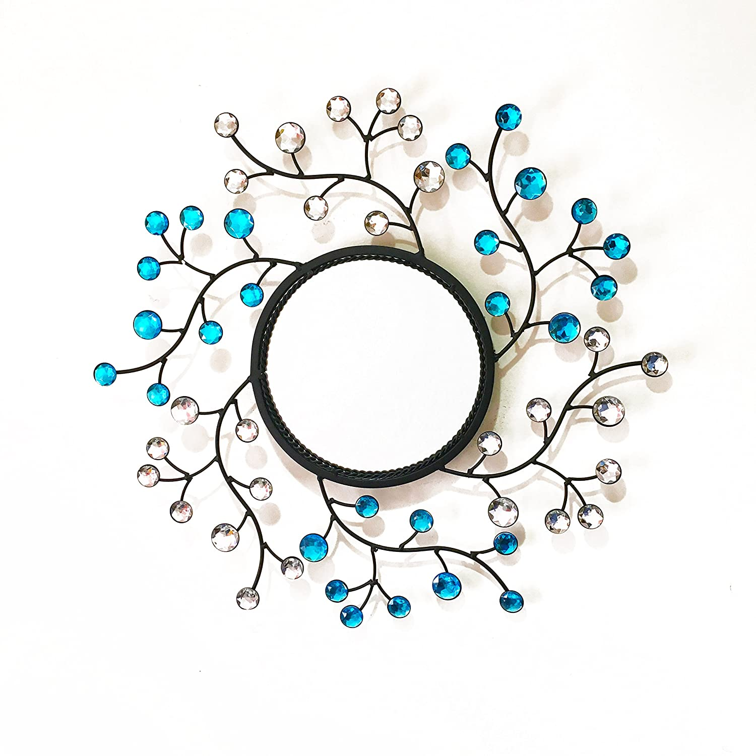 Cool Metal Wall Mirror Leaf Shaped Diamond Accents Blue Crystals Flower Decorative Hotel Mirror Bathroom Wall Mirror 20Inch Download Free Architecture Designs Osuribritishbridgeorg