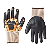 AmazonCommercial 13G Goldsilk & Foam Nitrile Gloves with Impact Protection (Orange/Black), Size L, 6-Pairs