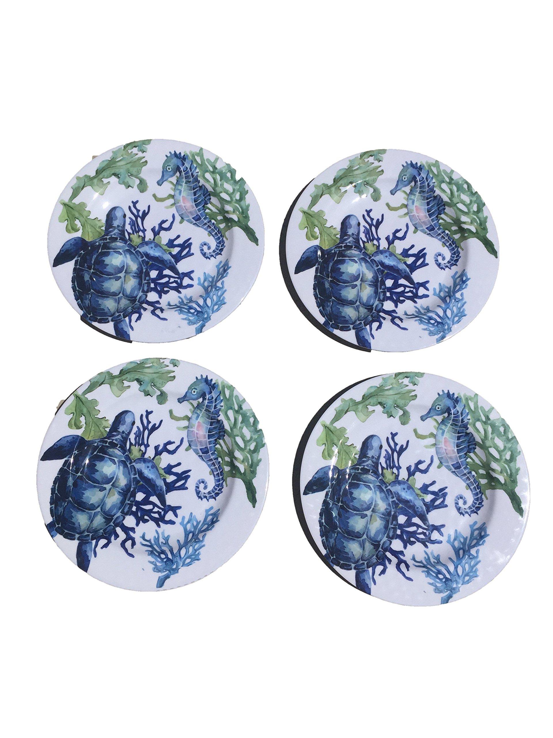 Summer Melamine Plate Set of 4 (Sea Life)