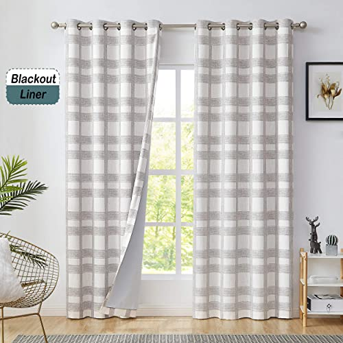 Central Park White Tan Geometric Blackout Window Curtain Plaid Buffalo Check Panel Pairs 108 Long for Living Room Linen Grommets Top Rustic Farmhouse Room Darkening Thermal Insulated Drape, 1 Pc