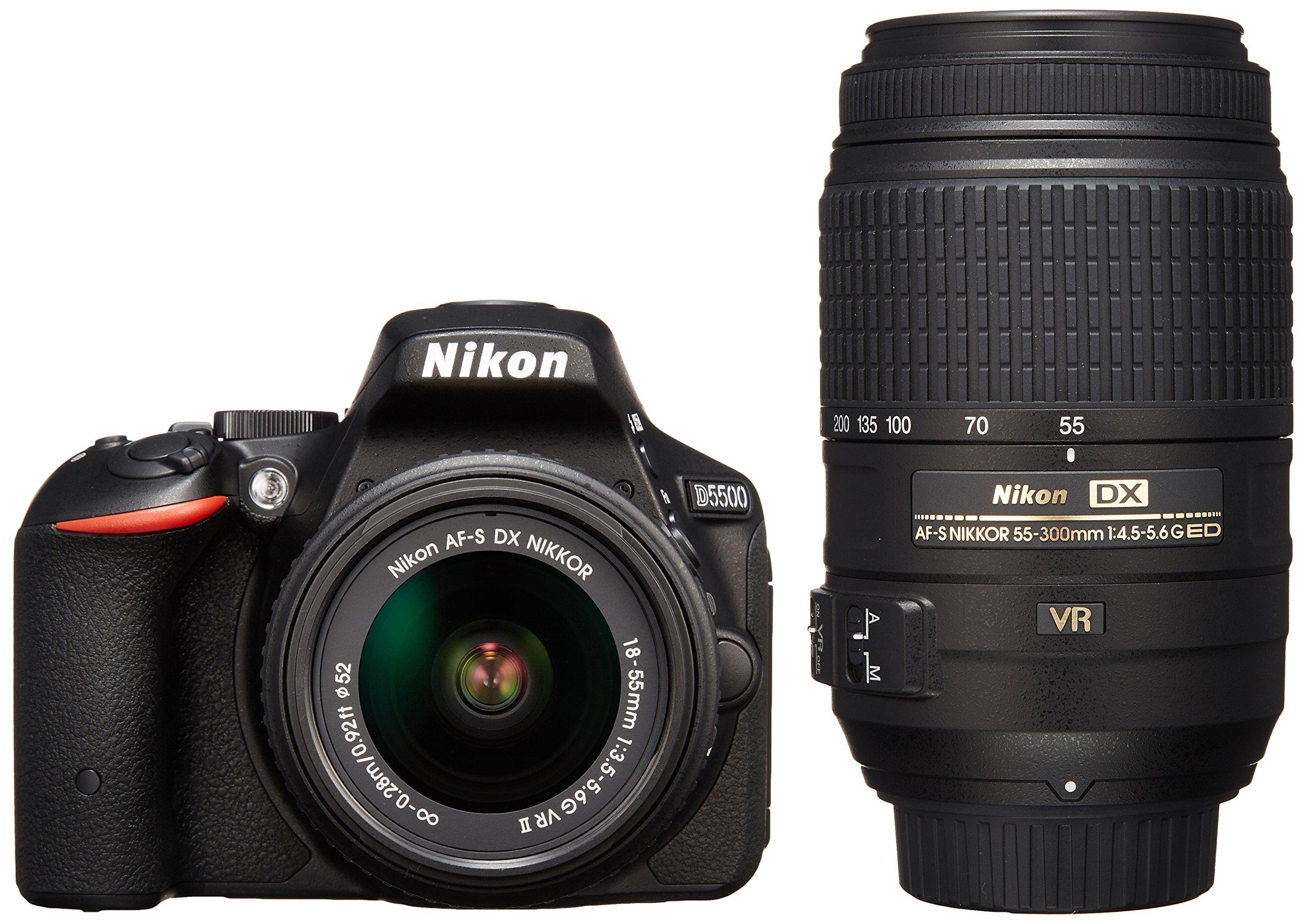 Nikon デジタル一眼レフカメラ D5500 ダブルズームキット ブラック  2416万画素 3.2型液晶 タッチパネルD5500WZBK product image