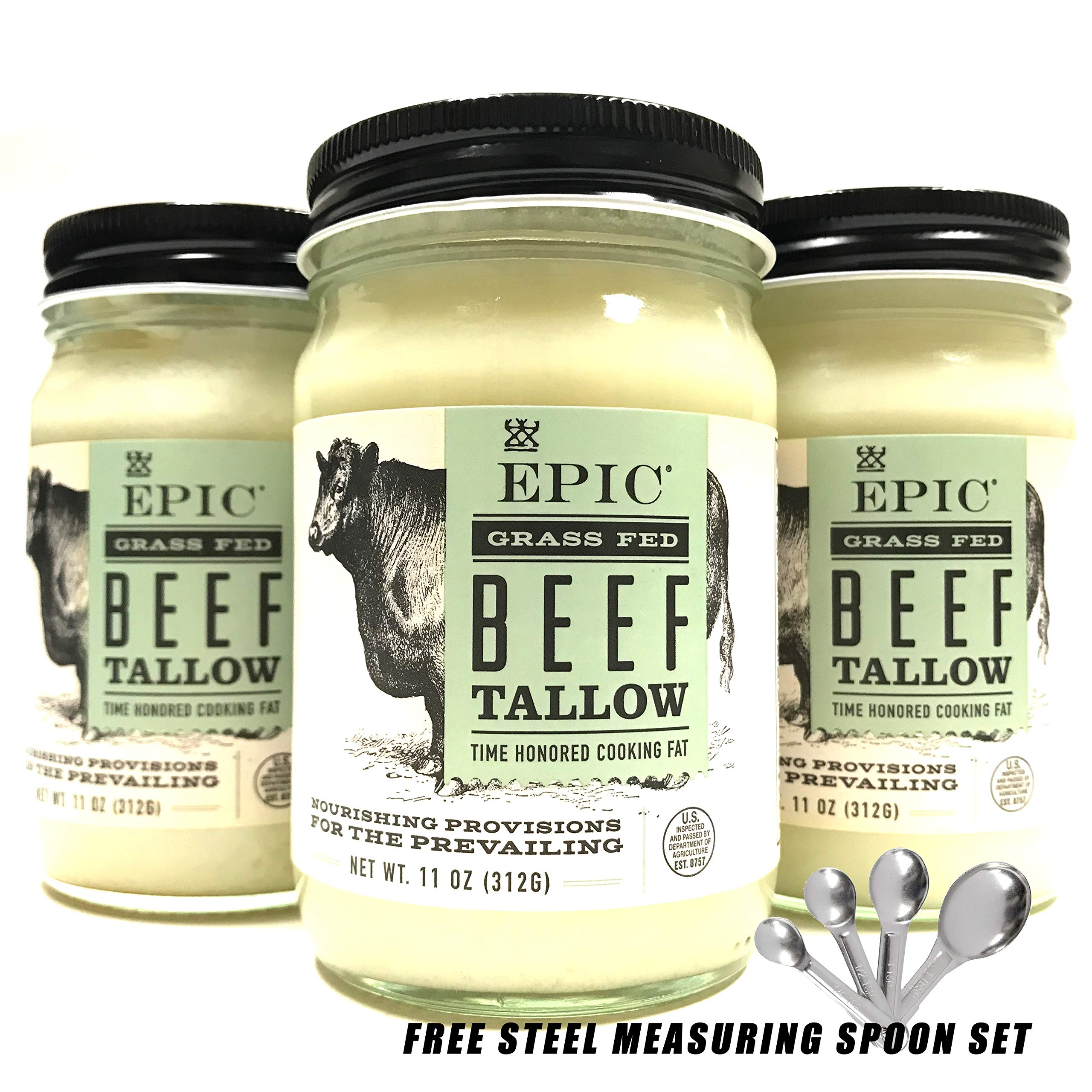EPIC Animal Oil Grass Fed Beef Tallow 11 Fl Oz, w/Free Measuring Spoon Set | Pack of 3
