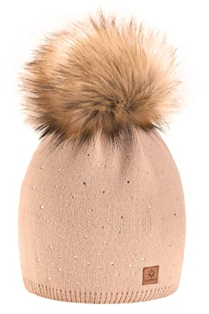 4233e40d45440 MFAZ Morefaz Ltd Women Ladies Winter Beanie Hat Knitted with Small Crystals  Large Faux Fur Pom