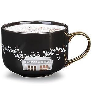 Doctor Who Ceramic Coffee Latte Mug - Cute Pinache Black and Gold TARDIS Police Box Design - 16 oz