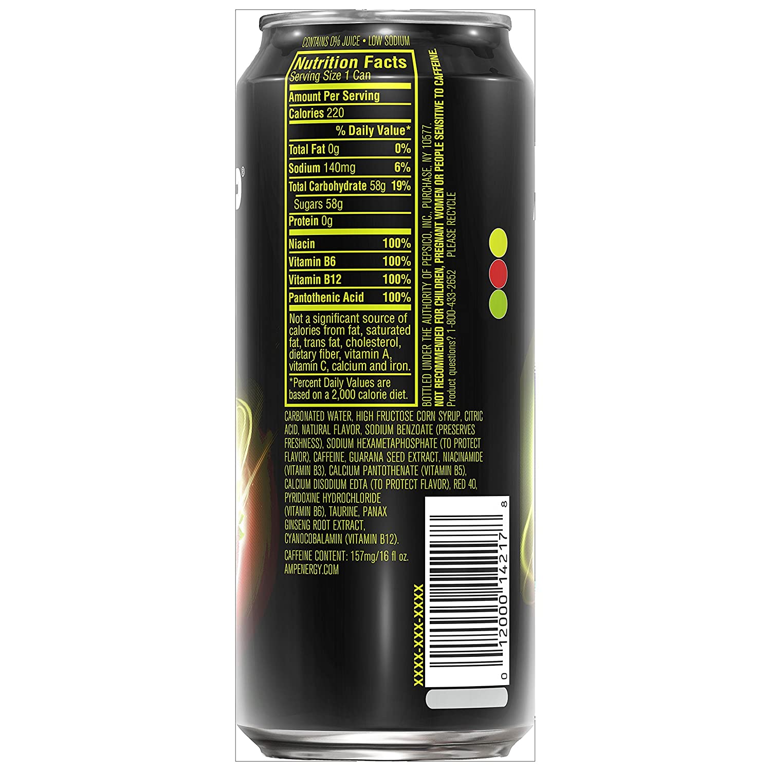 Amp Energy Drink Nutrition Facts