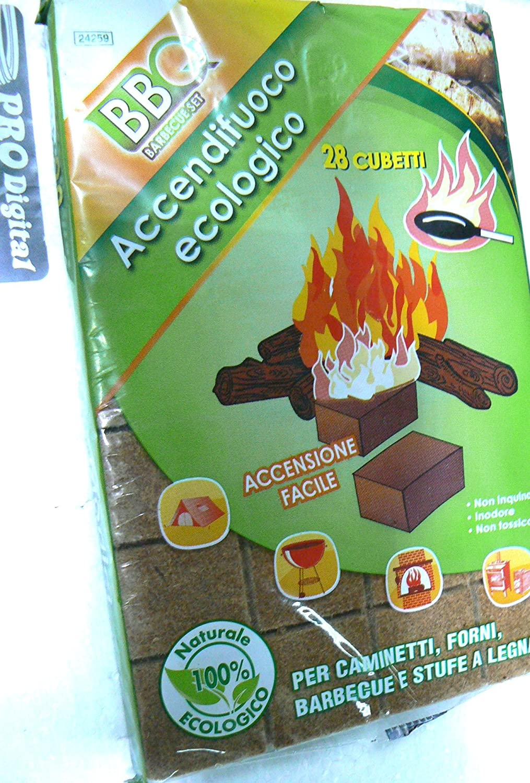 Accendifuoco Ecologico Busta da 28 CUBETTI (Pastiglie) NON Odora; Non Sprigiona Sostanze Tossiche; Accensione Rapida e Lunga durata. CANTINI