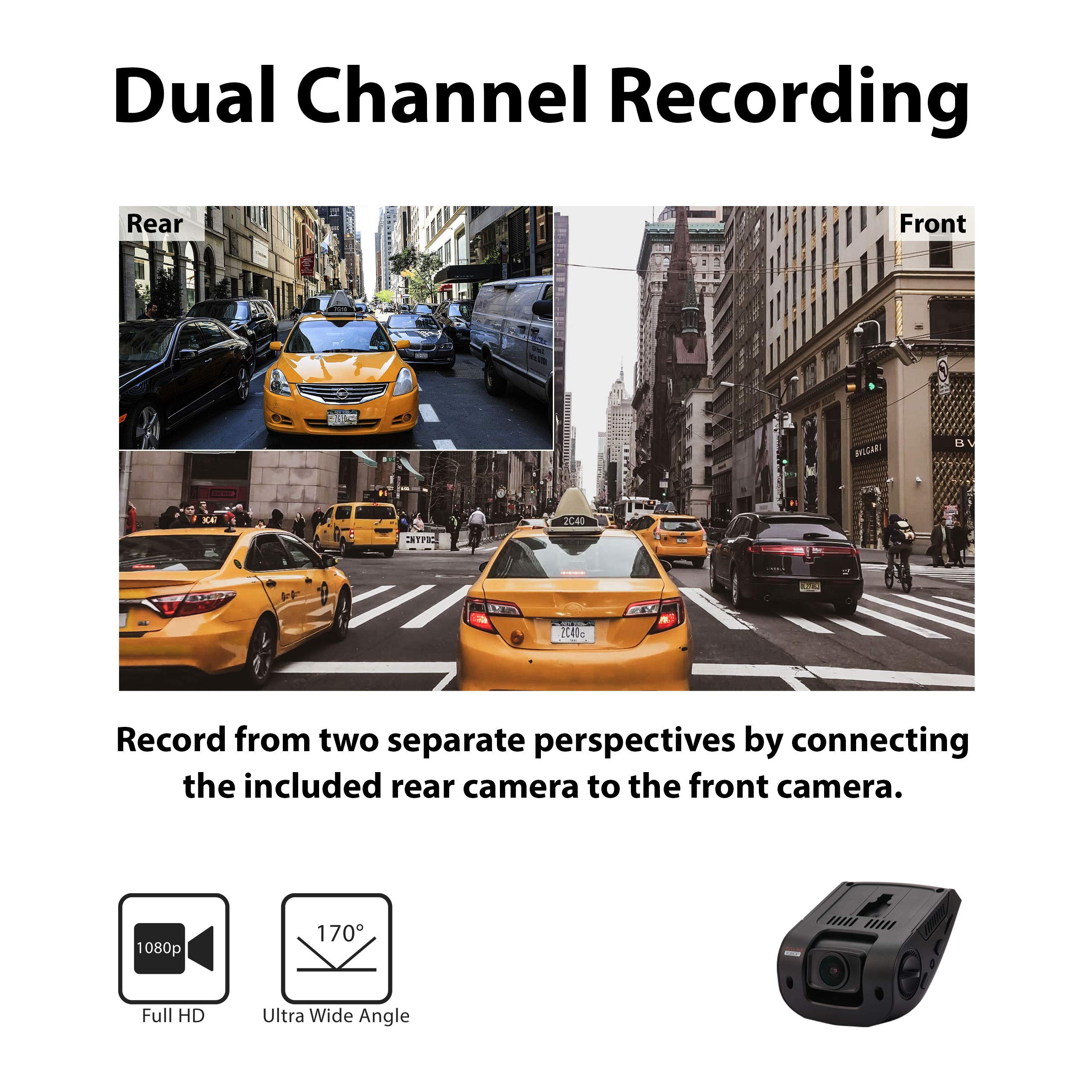 Rexing V1P 2.4'' LCD FHD 1080p 170 Degree Wide Angle Dual Channel Dashboard Camera Recorder Car Dash Cam with Rear Camera, G-Sensor, WDR, Loop Recording by REXING (Image #3)