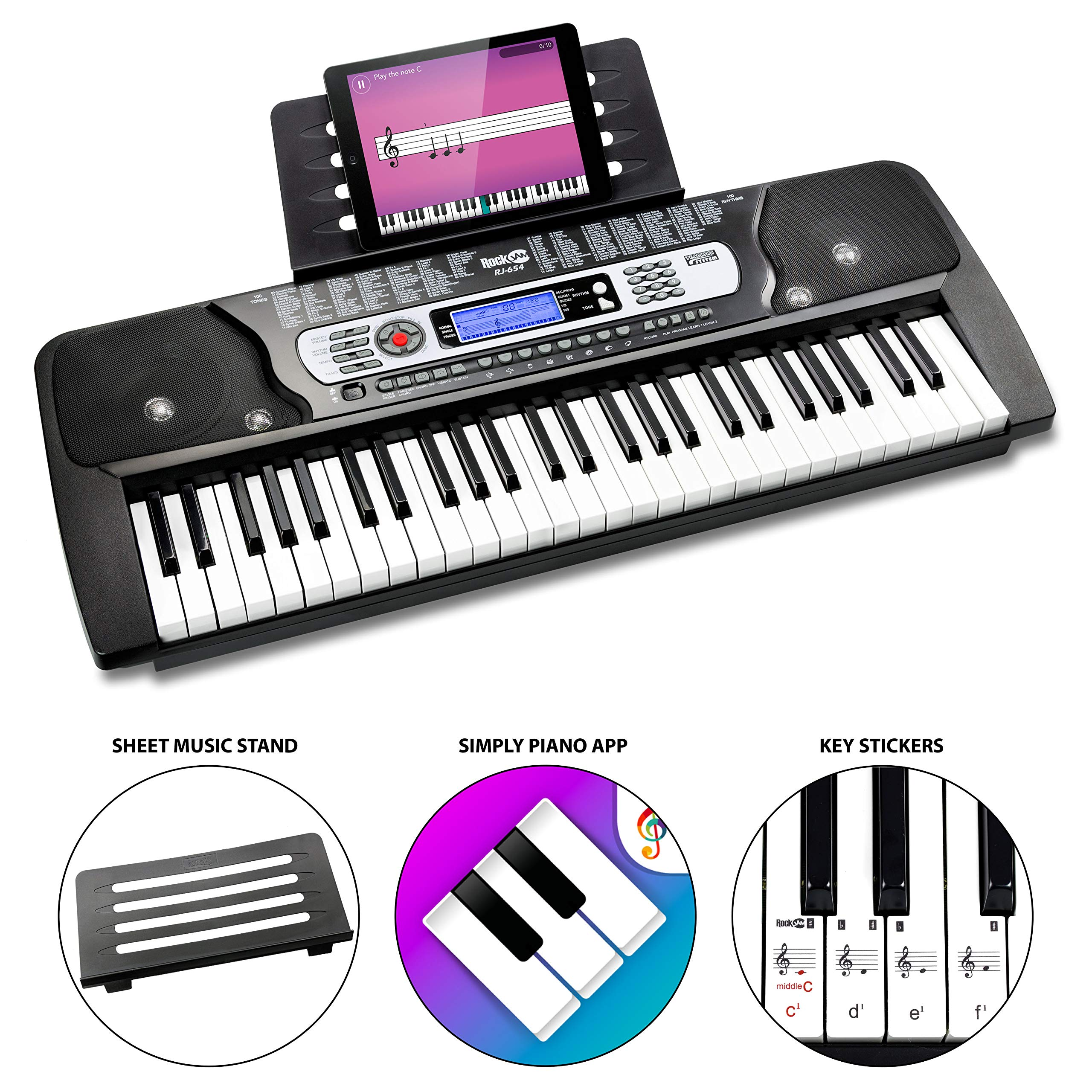 RockJam 54-Key Portable Electronic Keyboard with Interactive LCD Screen & Includes Piano Maestro Teaching App with 30 Songs by RockJam