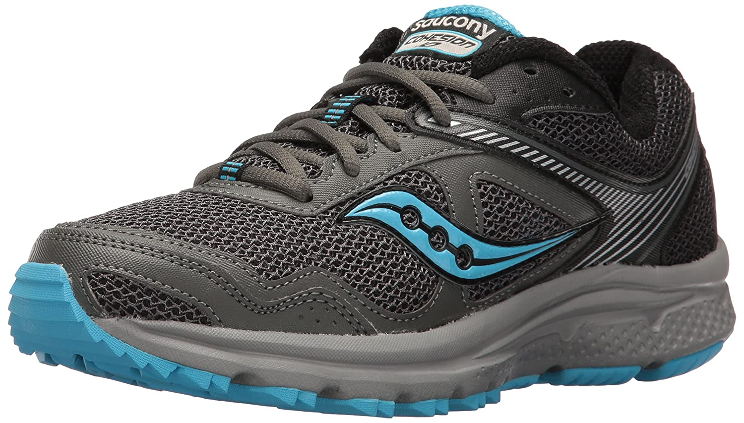 Saucony Women's Cohesion 10 Running Shoe B01HPGLG2M 9 B(M) US|Grey/Black/Blue