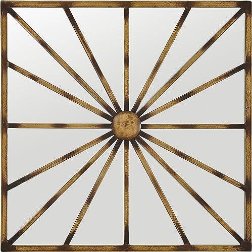 Amazon Brand Stone Beam Sunburst Lines Hanging Wall Mirror Decor, 20 Inch Height, Antique Gold Finish