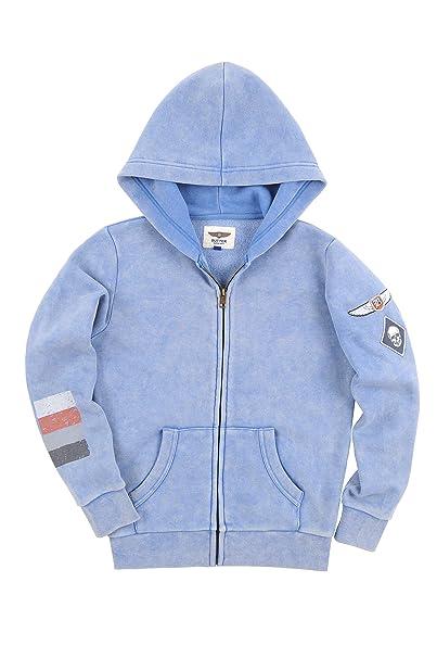 05c380099 BUTTER SUPER SOFT Boy's Long Sleeve Zip Front Fleece Hoodie Sweatshirt  Riverside Large