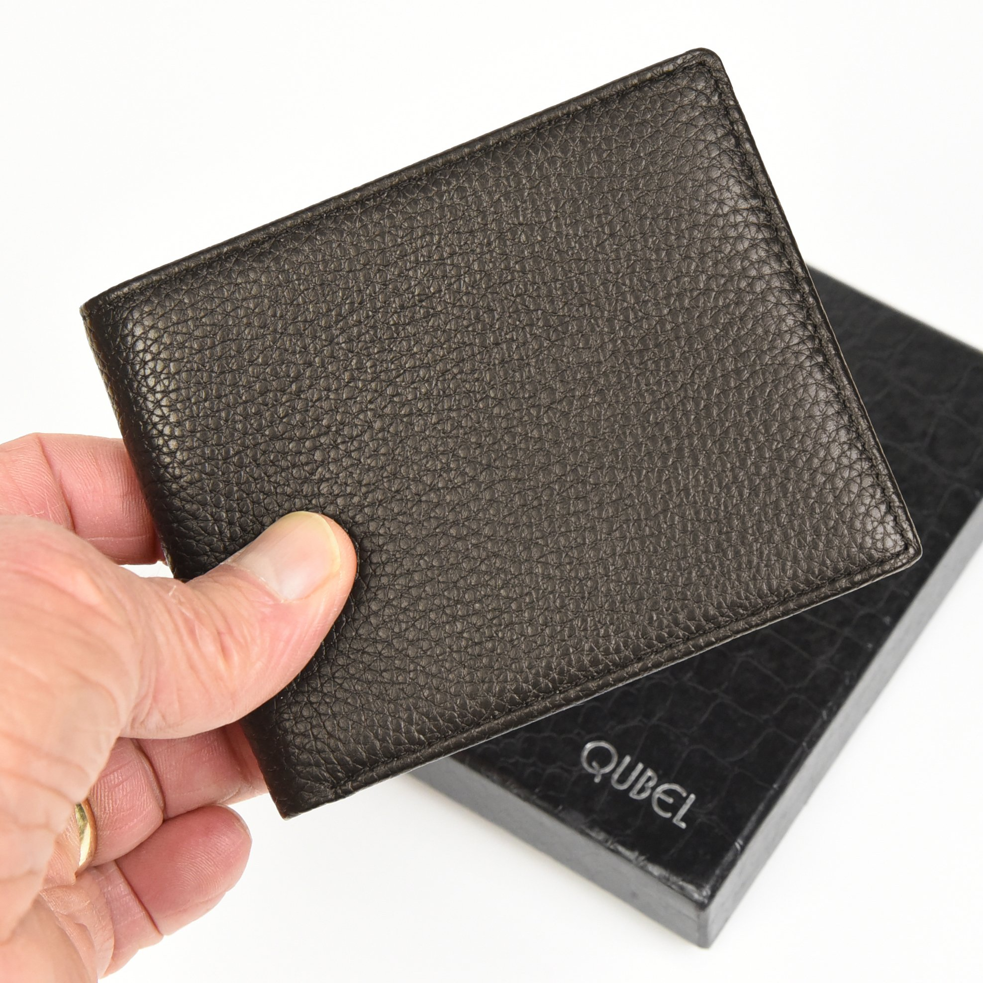 RFID Blocking Slim Bifold Genuine Leather Wallet for Men - Credit Card Protector by Qubel (Image #4)