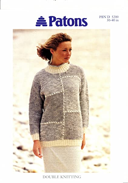 b5d6c87d416ff8 Knitting Pattern Lady s DK Long Patchwork Sweater 30-40