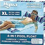 Aqua 4-in-1 Monterey Hammock XL (Longer/Wider) Inflatable Pool Chair, Adult Pool Float (Saddle, Lounge Chair, Hammock…