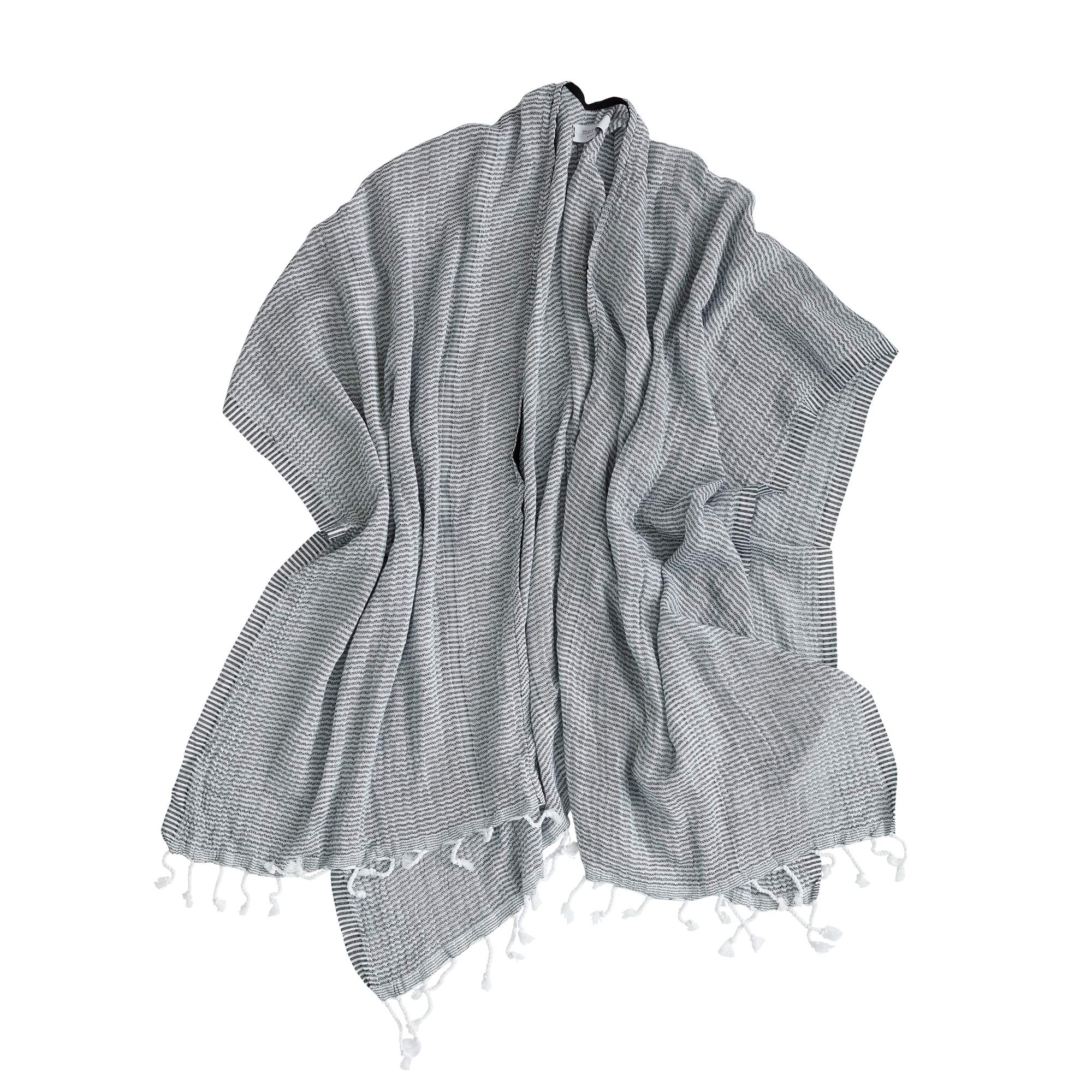 Mer Sea & Co Luxury Beach Wrap with Tote Bag - Midnight Navy Stripes - 100% Cotton (43'' x 65'')