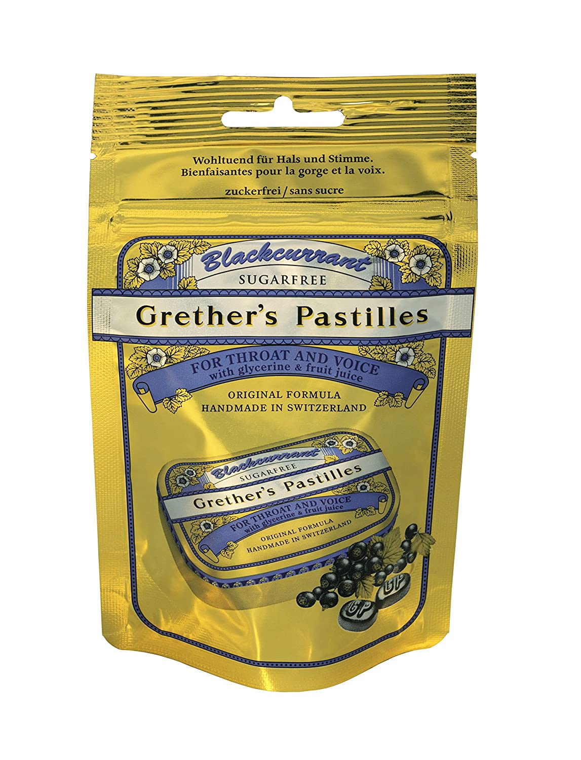 Grethers Blackcurrant Sugar Free Pastilles Travel/Refill Pouch Doetsch Grether 385-9584