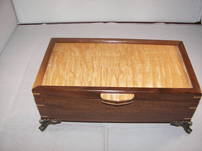 Amazoncom Walnut Jewelry Box Handcrafted with Curly Maple top