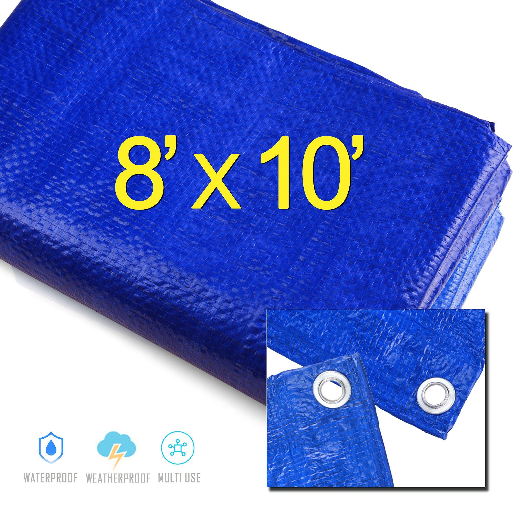 8' X 10' Blue Multi-purpose Waterproof Poly Tarp Cover Tent Shelter Camping Tarpaulin By Prime Tarps