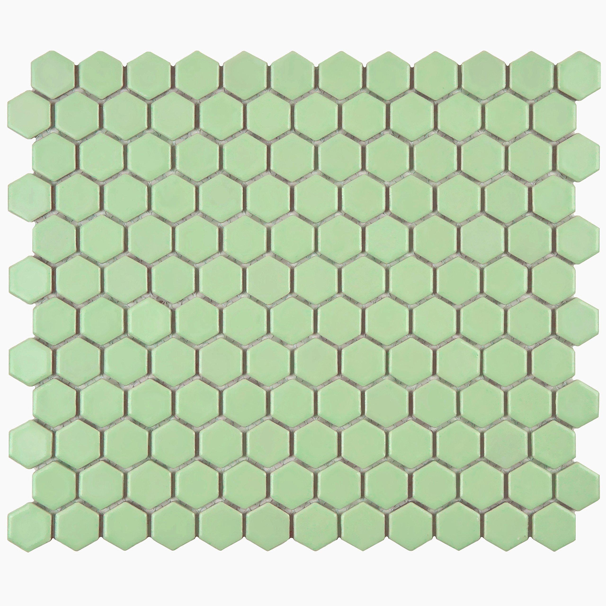 SomerTile FXLM1HMG Retro Hex Porcelain Floor and Wall Tile, 10.25'' x 11.75'', Matte Light Green