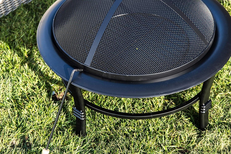 Black 75.01 x 75.01 x 54.99 cm Peaktop CU295 Outdoor 30-Inch Round Steel Wood Burning Fire Pit