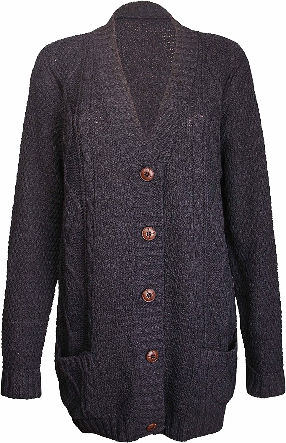 Ladies Sleeveless Cable Knitted Button Sweater Womens Grandad Winter Cardigan