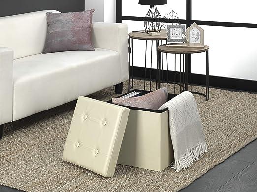 assise rembourr/ée 38 x 38 x 38 cm Beige ext/érieur en similicuir doux charge maximale de 300 kg D/&D Quality Pouf de rangement pliable