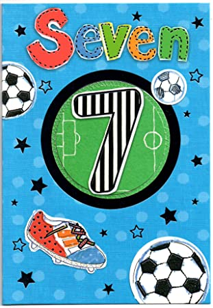 Football Birthday Card For Seven 7 Year Old Boy