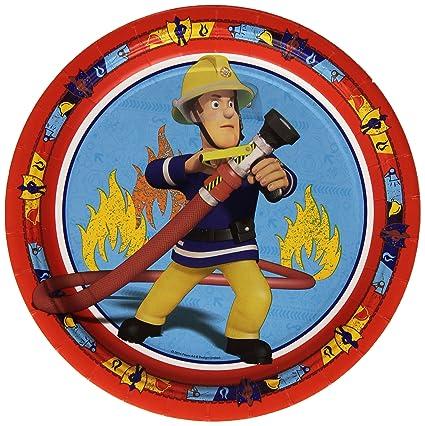 Amazon.com: Amscan International 23 cm Fireman Sam Paper Plates by ...