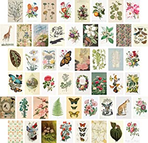 ARTIVO Vintage Wall Collage Kit, Botanical Wall Collage Cards, Vintage Wall Art Print, Bedroom Decor for Women, Small Posters, 50 Set 4x6 inch