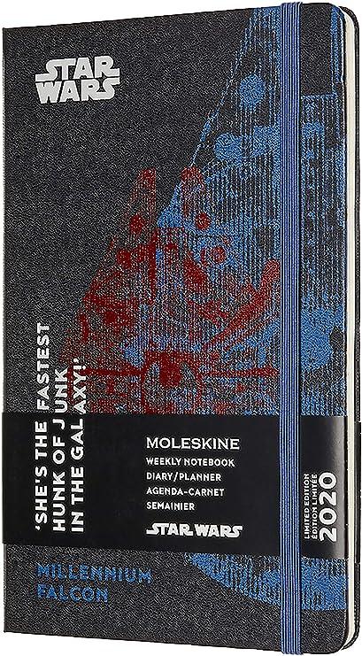 Moleskine - Agenda Semanal 12 Meses 2020 Star Wars Edición Especial Halcón Milenario con Tapa Dura y Cierre Elástico, Tamaño Grande 13 x 21 cm, 144 ...