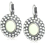 "Liz Palacios ""Crystales Opalos"" Cabochon and Two Row Crystal Earrings"