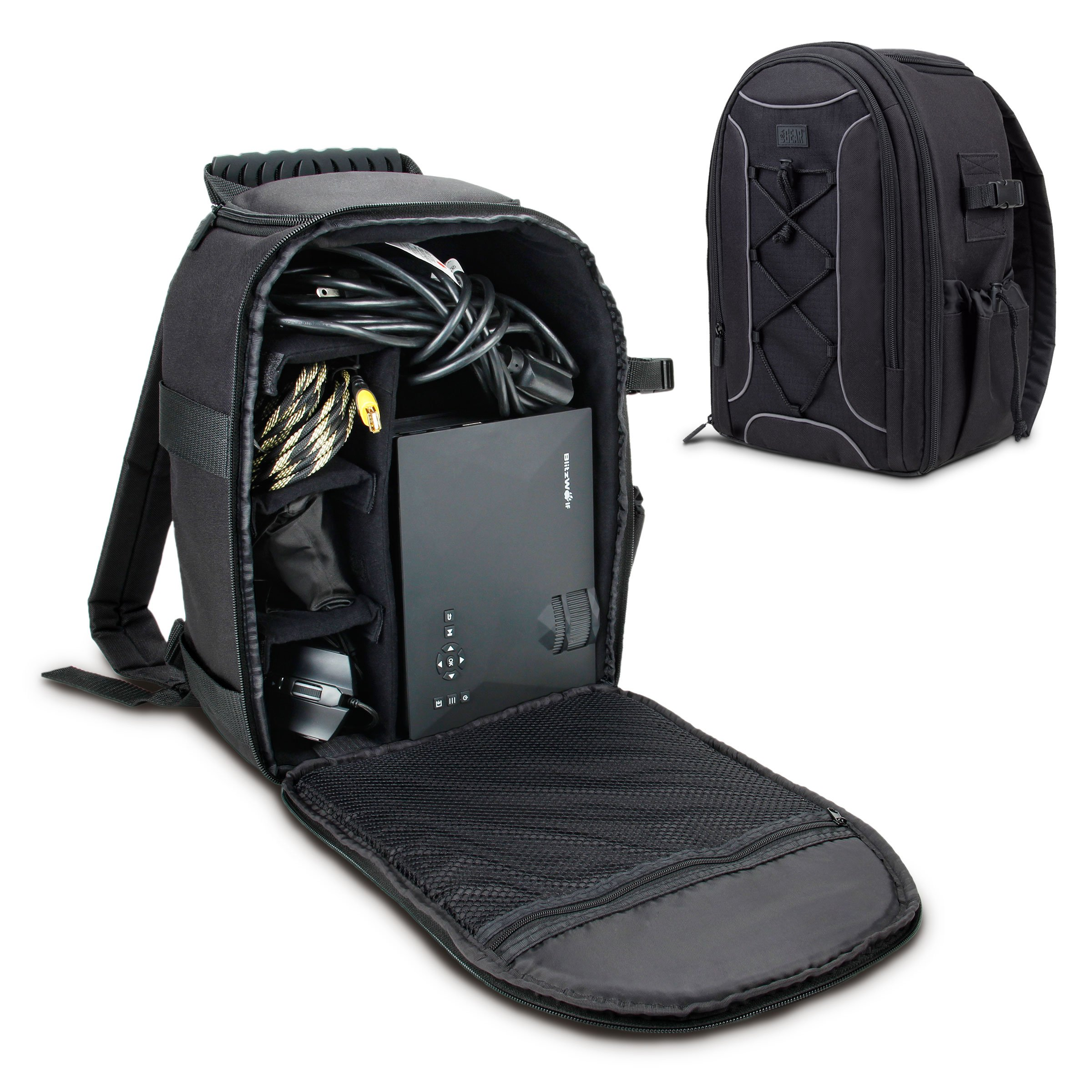 USA Gear Portable Projector Carrying Case with Custom Storage Dividers, Accessory Pockets and Waterproof Rain Cover - Compatible with ViewSonic, Epson, Optoma, Vivitek and More Portable Projectors