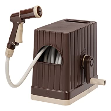 IRIS USA, FHEX-15 All-in-One Retractable Hose Reel Box with Hose and Nozzle, 48 ft, Brown